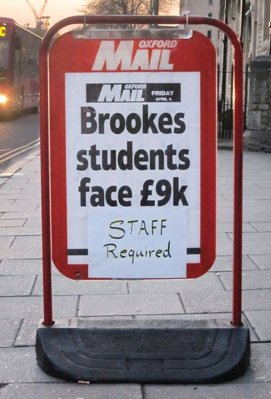 An entertaining sign outside a newsagent in Oxford